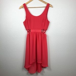 Gorgeous High-Low Sheer Coral Dress with Side Cuts